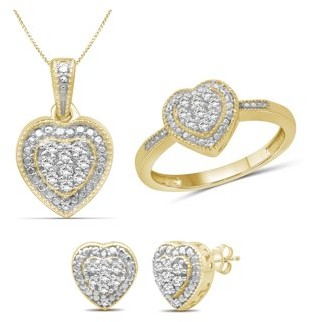 Jewelersclub JewelersClub 1/3 Carat T.W. White Diamond 14k Gold Over Silver 3 Piece Heart Jewelry Set