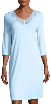 Hanro Valencia 3/4-Sleeve Basic Gown, Bel Air Blue