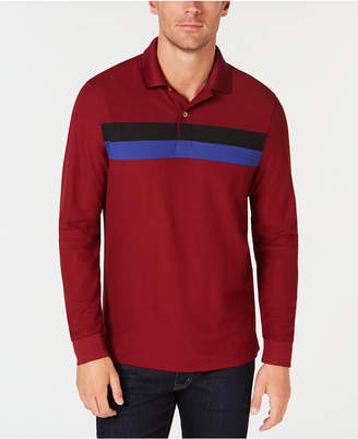 Club Room Men's Long-Sleeve Striped Polo