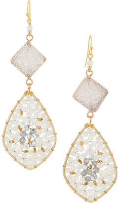 Nakamol Druzy & Crystal Teardrop Earrings