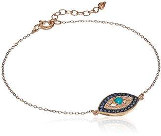 14K Rose Gold Plated Sterling Silver Genuine Turquoise and Created Sapphire Evil Eye Bracelet