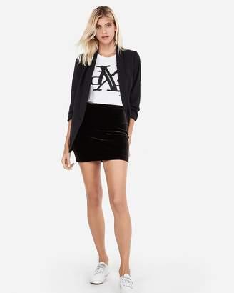 Express Petite High Waisted Velvet Mini Skirt