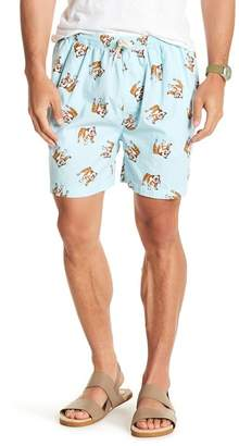 Natural Blue Bulldog Print Drawstring Shorts