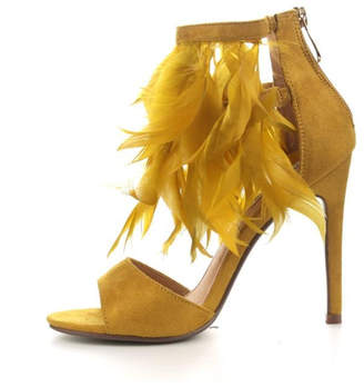 Cape Robbin Mustard Feather Heels $44.99 thestylecure.com