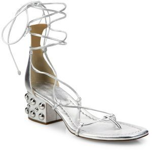 Michael Kors Collection Ayers Metallic Leather Lace-Up Block Heel Sandals