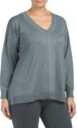 Plus Studded V Neck Pullover Sweater