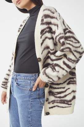 Urban Outfitters Dayton Brushed Animal Print Cardigan