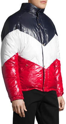 Moncler Colorblocked Stand Collar Coat