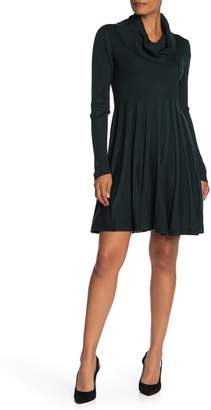 Modern American Designer Cowl Neck Fit & Flare Sweater Dress
