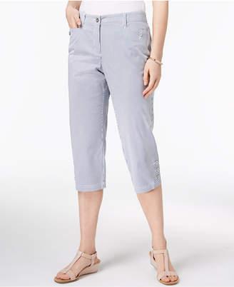 Karen Scott Petite Striped Button-Hem Capri Pants, Created for Macy's