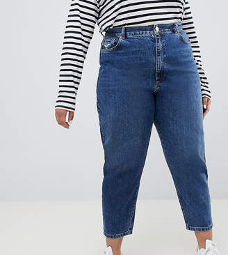 Asos DESIGN Curve balloon leg boyfriend jeans in dark blue wash