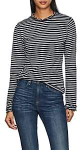 Derek Lam 10 Crosby Women's Striped Ruffled Cotton T-Shirt - White