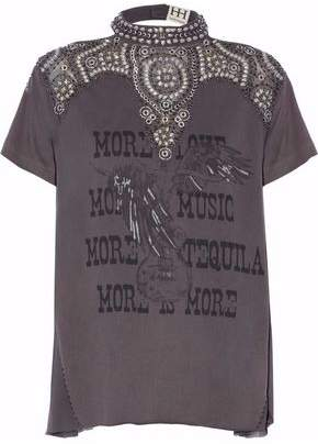 Haute Hippie Open-Back Embellished Printed Cotton-Jersey Top
