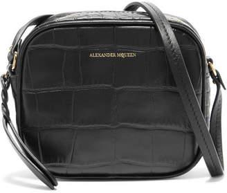 Alexander McQueen Croc-effect Leather Camera Bag - Black