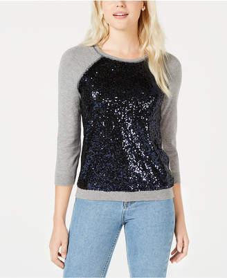 Maison Jules Sequin-Embellished Baseball Sweater