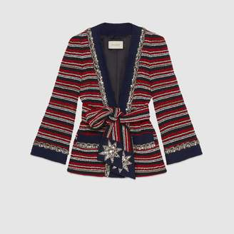 Gucci Marine stripe boucle jacket with belt