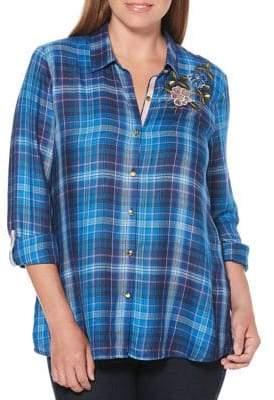 Rafaella Petite Plaid Button Front Shirt