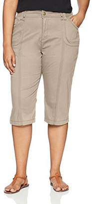 Lee Women's Plus Size Relaxed Fit Lyric Knit Waist Cargo Capri Pant