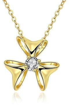 BST Pendant Necklaces BST Elegant Generous Simple Zircon Triangle BowGolknot Gold-Plated Pendant Necklace(Gold)(1PC)