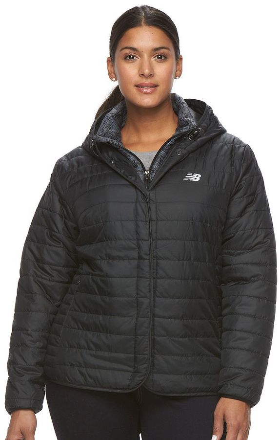New BalancePlus Size New Balance Hooded Quilted Puffer Jacket