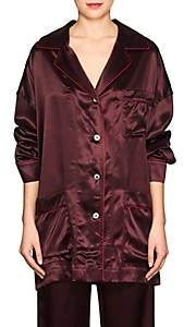 Maison Margiela WOMEN'S SATIN PAJAMA BLOUSE - BURGUNDY SIZE 36 IT 00505052719233
