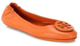 Tory Burch Minnie Travel Leather Ballet Flats $225 thestylecure.com