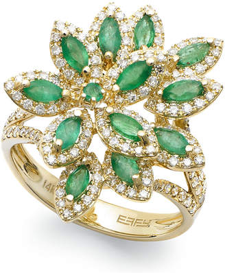 Effy Brasilica by Emerald (1-1/16 ct. t.w.) and Diamond (5/8 ct. t.w.) Flower Ring in 14k Gold