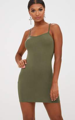 PrettyLittleThing Basic Dove Grey Strappy Bodycon Dress