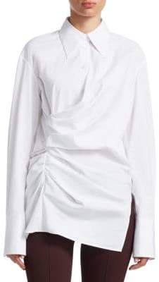 Helmut Lang Draped Cotton Poplin Shirt