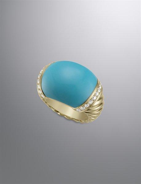 David Yurman Metro Bombe Ring with Turquoise