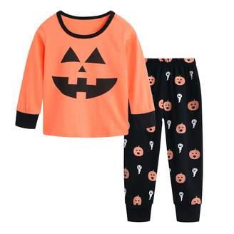Csbks Kids Halloween Pajamas Pumpkin Pant Sets Girls Boys Orange Costume Outfits Smiley Pumpkin Black 4 Year