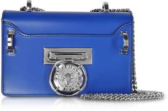 Balmain Electric Blue Smooth Leather Baby Box Flap Shoulder Bag