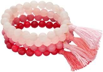 Loli Bijoux LOLI BIJOUX Breast Cancer Awareness Pink Beaded Tassel Stretch Bracelet Set