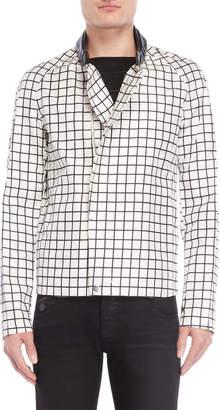 Emporio Armani White Grid Print Jacket