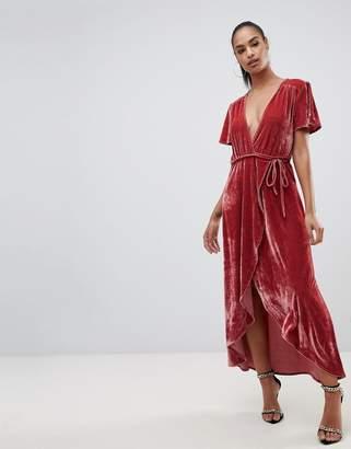 PrettyLittleThing velvet wrap midi dress in pink