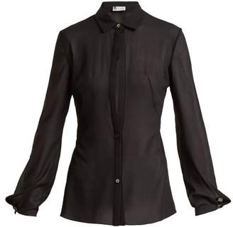 Lanvin Sheer Silk Blend Shirt - Womens - Black