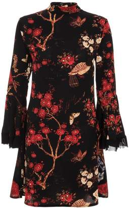 Quiz Black And Red Crepe Oriental Print Frill Dress