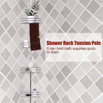 Yosoo Bathroom Shower Corner Metal Tension Pole Adjustable 4 Baskets Storage Rack Shelf, Bathroom Shower Corner Shelf, Bathroom Corner Storage Shelf