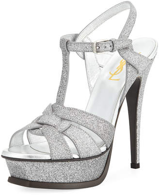 ab3e6f48b46 Saint Laurent Tribute Glitter 135mm Platform Sandal