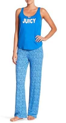 Juicy Couture Scoop Neck Tank Top & Printed Pants Pajama Set