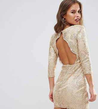 TFNC Petite Allover Sequin Dress With Scalloped Open Back
