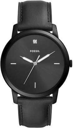Fossil Men's Minimalist Carbon Series Diamond Black Leather Strap Watch 44mm