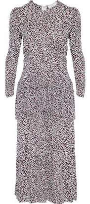 A.L.C. Layered Leopard-Print Silk Crepe De Chine Midi Dress