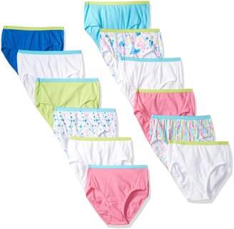 Hanes Big Girls' Tagless Cotton Briefs 12-Pack