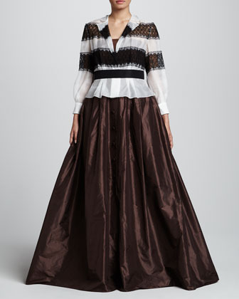 Carolina Herrera Long-Sleeve Gown