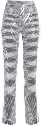 Sequin-Embellished Metallic Jacquard-Knit Straight-Leg Pants