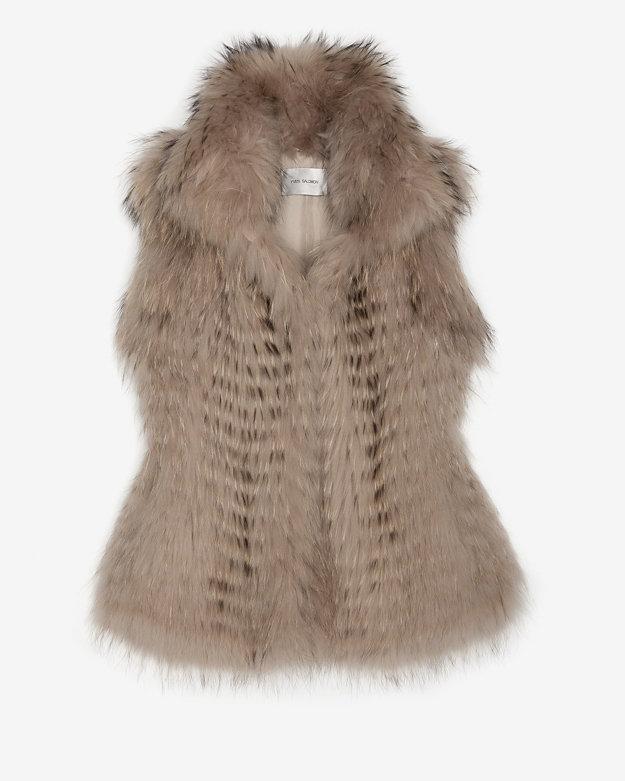 Yves Salomon Exclusive Shawl Collar Fur Vest: Natural