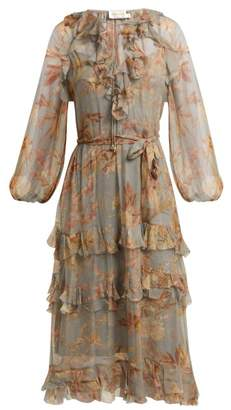Zimmermann Unbridled Cascade Floral Print Silk Dress - Womens - Grey Print