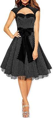 Athena BlackButterfly 'Athena' Polka Dot Large Bow Dress (White, US 10)