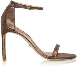 Stuart Weitzman Nudistsong Bronze Laminated Nappa High-heel Sandals